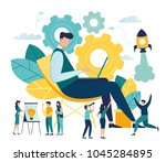 the man is working on the... | Shutterstock .eps vector #1045284895