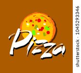 pizza hand lettering... | Shutterstock .eps vector #1045293346