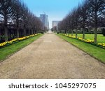 Stock photo a tree lined avenue daffodils growing along the side a fountain in the centre in the royal 1045297075