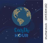 earth hour day concept. stop... | Shutterstock .eps vector #1045304182