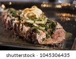 skirt steak with chimichuri... | Shutterstock . vector #1045306435