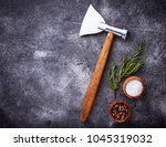 butchers axe for meat and... | Shutterstock . vector #1045319032