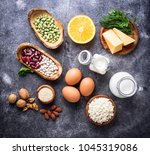 set of food that is rich in... | Shutterstock . vector #1045319086