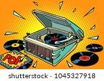 pop music  vinyl records and...   Shutterstock .eps vector #1045327918