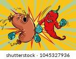 red pepper beats a sausage....   Shutterstock .eps vector #1045327936