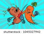 carrots beats a sausage.... | Shutterstock .eps vector #1045327942