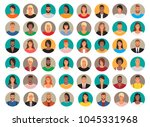 big set of circle avatars. 48... | Shutterstock .eps vector #1045331968