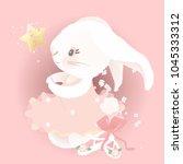 cute ballerina bunny princess ... | Shutterstock .eps vector #1045333312