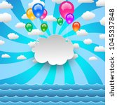balloons and clouds sky on the... | Shutterstock .eps vector #1045337848