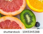 fruits close up background | Shutterstock . vector #1045345288