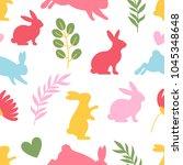 seamless rabbit silhouette... | Shutterstock .eps vector #1045348648