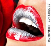 closeup beautiful female lips... | Shutterstock . vector #1045350772