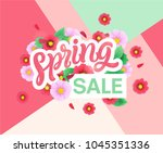 spring sale banners poster tag... | Shutterstock .eps vector #1045351336