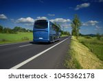 blue bus traveling on asphalt... | Shutterstock . vector #1045362178