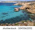 comino island blue lagoon....   Shutterstock . vector #1045362352