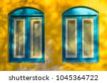 blue old style wooden windows ... | Shutterstock . vector #1045364722
