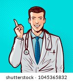 happy doctor with index finger. ... | Shutterstock .eps vector #1045365832