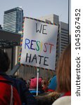 Small photo of TORONTO, ONTARIO, CANADA - January 20 2018 - Women's March, Large Crowds at Nathan Phillips Square, Feminism, Activism, Pussy Pink Hats, Equality Protest signs, women's rights, LGBTQ, resistance, love