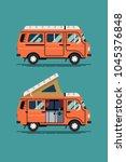 cool vector camping van design... | Shutterstock .eps vector #1045376848