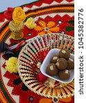 Small photo of Indian street food Raggee,a cereal grass,finger millet or ragi flour laddu sweet desert