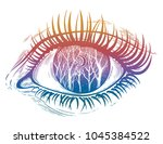 beautiful realistic psychedelic ... | Shutterstock .eps vector #1045384522