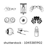 ophthalmologist icons set.... | Shutterstock .eps vector #1045385902