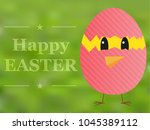 happy easter card with chicken... | Shutterstock .eps vector #1045389112