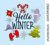seasonal weather winter | Shutterstock .eps vector #1045390882