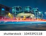 traffic trails at night of... | Shutterstock . vector #1045392118
