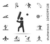 cricket player icon. detailed... | Shutterstock .eps vector #1045399138