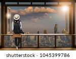asian female tourists  she... | Shutterstock . vector #1045399786