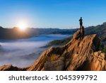 businessmen stand on high peaks ... | Shutterstock . vector #1045399792