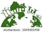earth eco friendly  green grass ... | Shutterstock .eps vector #1045401958