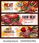 meat farm products sketch... | Shutterstock .eps vector #1045402396