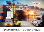 container ship in import export ... | Shutterstock . vector #1045407028