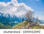 sochi mountains and girl | Shutterstock . vector #1045412092