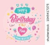 happy birthday greeting card.... | Shutterstock .eps vector #1045417375