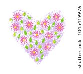 spring flowers on heart grunge... | Shutterstock .eps vector #1045419976