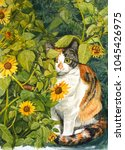Watercolor Of Calico Cat Behin...