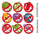 cartoon viruses characters... | Shutterstock . vector #1045439116