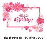 hello spring.hand lettering... | Shutterstock .eps vector #1045459108