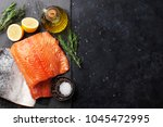 raw salmon fish fillet with... | Shutterstock . vector #1045472995