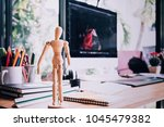 designer graphic desk with... | Shutterstock . vector #1045479382