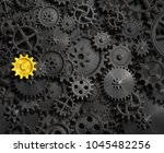 old gears and cogs with gold... | Shutterstock . vector #1045482256
