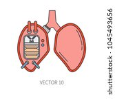 bionic lungs prosthesis color...   Shutterstock .eps vector #1045493656