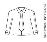 shirt with necktie vector line...   Shutterstock .eps vector #1045498786