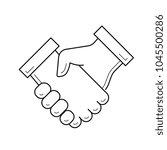 handshake vector line icon... | Shutterstock .eps vector #1045500286