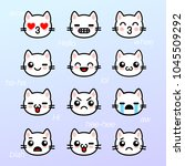 emoticons with white kitten.... | Shutterstock .eps vector #1045509292