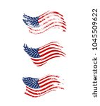 vintage waving usa flag set.... | Shutterstock .eps vector #1045509622