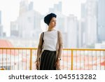 portrait of a young  attractive ...   Shutterstock . vector #1045513282